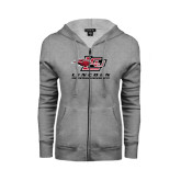 ENZA Ladies Grey Fleece Full Zip Hoodie-Combination Mark