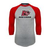 Grey/Red Raglan Baseball T-Shirt-Red Lions Logo