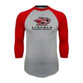 Grey/Red Raglan Baseball T-Shirt-Combination Mark