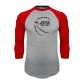 Grey/Red Raglan Baseball T-Shirt-Lincoln Christian Basketball w/ Contour Lines