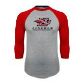 Grey/Red Raglan Baseball T-Shirt-Combination Mark Distressed