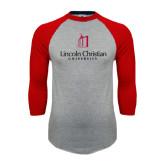 Grey/Red Raglan Baseball T-Shirt-University Logo