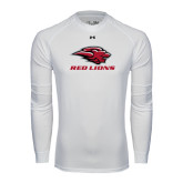 Under Armour White Long Sleeve Tech Tee-Red Lions Stacked