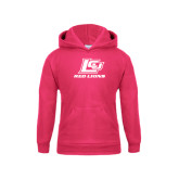 Youth Raspberry Fleece Hoodie-Red Lions Logo