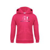 Youth Raspberry Fleece Hoodie-Red Lions Logo Foil
