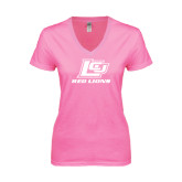 Next Level Ladies Junior Fit Deep V Pink Tee-Red Lions Logo