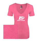 Next Level Ladies Vintage Pink Tri Blend V-Neck Tee-Red Lions Logo