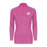 Ladies Syntrel Interlock Raspberry 1/4 Zip-Red Lions Logo