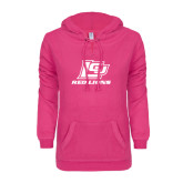 ENZA Ladies Hot Pink V Notch Raw Edge Fleece Hoodie-Red Lions Logo