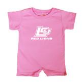 Bubble Gum Pink Infant Romper-Red Lions Logo