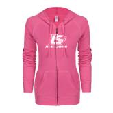 ENZA Ladies Hot Pink Light Weight Fleece Full Zip Hoodie-Red Lions Logo
