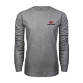 Grey Long Sleeve T Shirt-Red Lions Logo