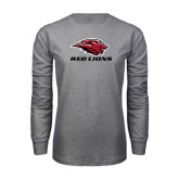 Grey Long Sleeve T Shirt-Red Lions Stacked