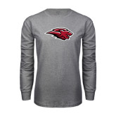 Grey Long Sleeve T Shirt-Lion Head