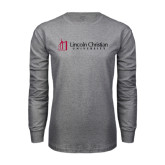 Grey Long Sleeve T Shirt-University Logo - Flat