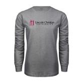 Grey Long Sleeve T Shirt-University Logo - Flat
