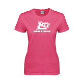 Ladies Fuchsia T Shirt-Red Lions Logo