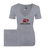Next Level Ladies Vintage Heather Tri Blend V Neck Tee-Red Lions Logo