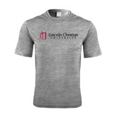 Performance Grey Heather Contender Tee-University Logo - Flat