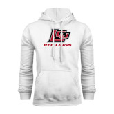 White Fleece Hoodie-Red Lions Logo
