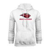 White Fleece Hoodie-Red Lions Stacked