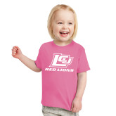 Toddler Fuchsia T Shirt-Red Lions Logo