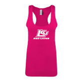 Next Level Ladies Raspberry Ideal Racerback Tank-Red Lions Logo