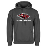 Charcoal Fleece Hoodie-Red Lions Stacked