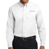 White Twill Button Down Long Sleeve-University Logo - Flat