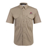 Khaki Short Sleeve Performance Fishing Shirt-Red Lions Logo