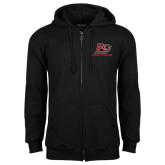 Black Fleece Full Zip Hoodie-Red Lions Logo