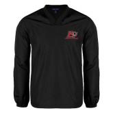 V Neck Black Raglan Windshirt-Red Lions Logo