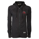 Ladies Under Armour Black Varsity Full Zip Hoodie-Red Lions Stacked