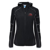 Columbia Ladies Sweet As Black Hooded Jacket-Red Lions Stacked