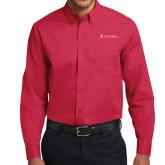 Red Twill Button Down Long Sleeve-University Logo - Flat