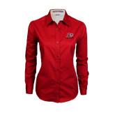 Ladies Red Twill Button Down Long Sleeve-Red Lions Logo