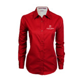 Ladies Red Twill Button Down Long Sleeve-University Logo