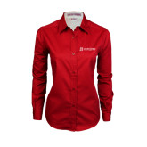 Ladies Red Twill Button Down Long Sleeve-University Logo - Flat