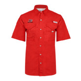 Columbia Bonehead Red Short Sleeve Shirt-Red Lions Logo