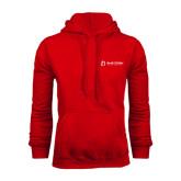 Red Fleece Hood-University Logo - Flat