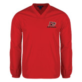 V Neck Red Raglan Windshirt-Red Lions Logo