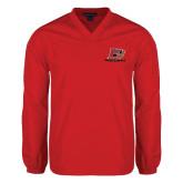 V Neck Red Raglan Windshirt-Red Lions Logo