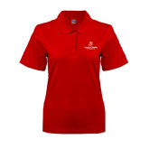 Ladies Easycare Red Pique Polo-University Logo