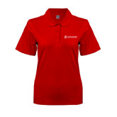 Ladies Easycare Red Pique Polo-University Logo - Flat