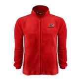 Fleece Full Zip Red Jacket-Red Lions Logo
