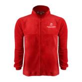 Fleece Full Zip Red Jacket-University Logo