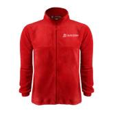 Fleece Full Zip Red Jacket-University Logo - Flat