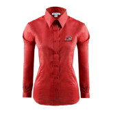 Ladies Red House Red Long Sleeve Shirt-Red Lions Logo