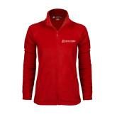 Ladies Fleece Full Zip Red Jacket-University Logo - Flat