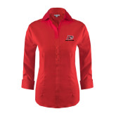 Ladies Red House Red 3/4 Sleeve Shirt-Red Lions Logo